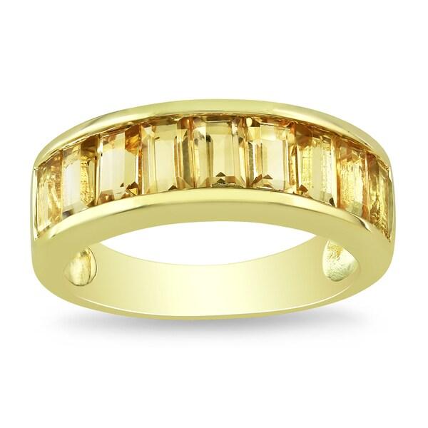 Miadora Yellow-plated Silver Citrine Ring