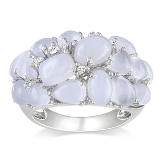 Miadora Sterling Silver Blue Chalcedony and Diamond Ring