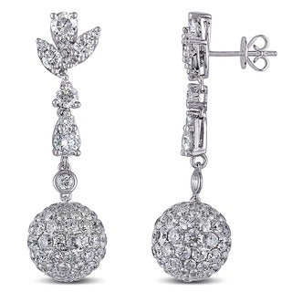 Miadora Signature Collection 14k White Gold 10 1/2ct TDW Diamond Pave Drop Earrings (G-H, SI1-SI2)