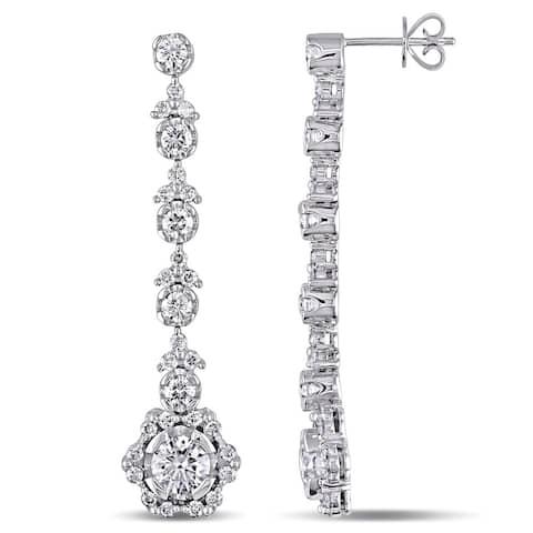 Miadora Signature Collection 18k White Gold 3 1/2ct TDW Diamond Earrings