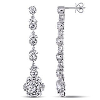 Miadora Signature Collection 18k White Gold 3 1/2ct TDW Diamond Earrings