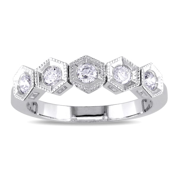 Miadora 18k White Gold 1/3ct TDW Diamond 5-stone Ring (H-I, SI2)