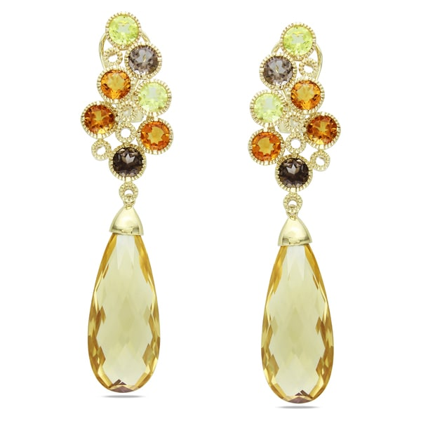 Miadora Signature Collection 14k Yellow Gold Citrine and Quartz Dangle Earrings