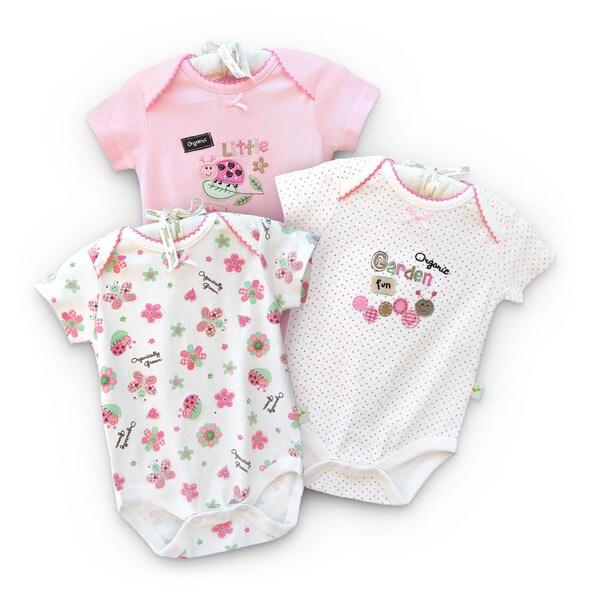 Organically Grown Infant 'Garden Fun' Organic Cotton Bodysuits (Set of 3)