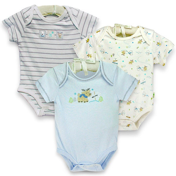 Infant 'Reindeer Friends' Organic Cotton Bodysuits (Set of 3)