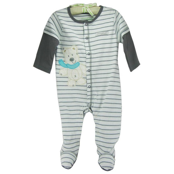 Infant 'Polar Bear Stripes' Organic Cotton Coveralls