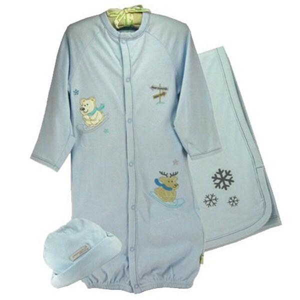 Infant 'Polar Bear & Reindeer' Hat/ Gown/ Blanket Set