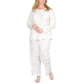La Cera Women's Plus Size Floral Knit Pajama Two-peice Set