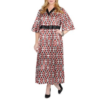 La Cera Women's Plus Size Floral Satin Lounge Dress