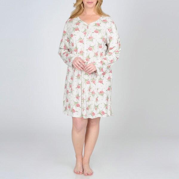 La Cera Women's Plus Size Floral Print Nightshirt
