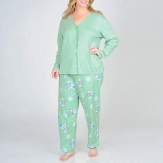 La Cera Women's Plus Kitty Pajama Set