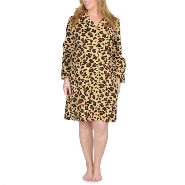 La Cera Women's Plus Size Cheetah Print Flannel Night Shirt