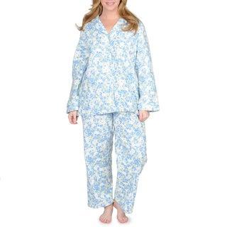 La Cera Women's Plus Size Mint Floral Print Cotton Pajama Set