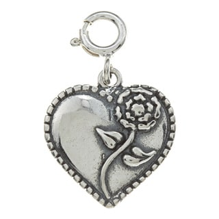 Sterling Silver Rose Heart Charm