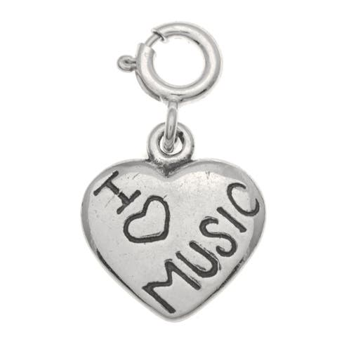 Sterling Silver 'I Love Music' Charm