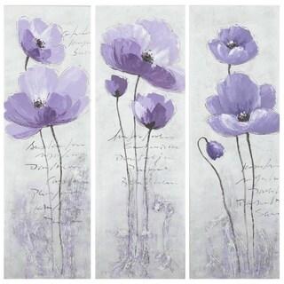 Safavieh Works of Art Purple Poppy 3-piece Canvas Art
