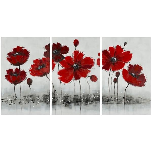 Safavieh Works of Art Red Poppy 3-piece Canvas Art
