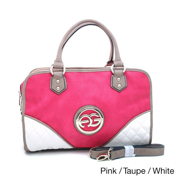 Anais Gvani Colorblocked Logo Satchel with Studded Accents
