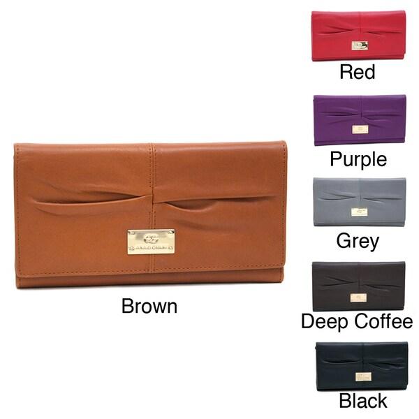 Anais Gvani Genuine Leather Pleated Tri-Fold Wallet