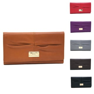 Anais Gvani Genuine Leather Pleated Tri-Fold Wallet