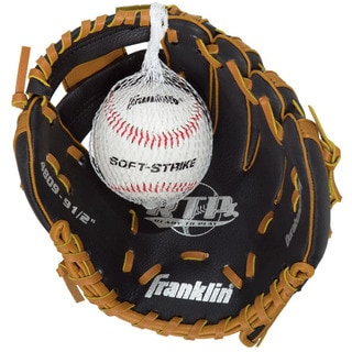 Nine-and-a-half-inch Black/ Tan Tee-ball Glove with Ball