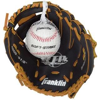 Nine-and-a-half-inch Black/ Tan Tee-ball Glove with Ball