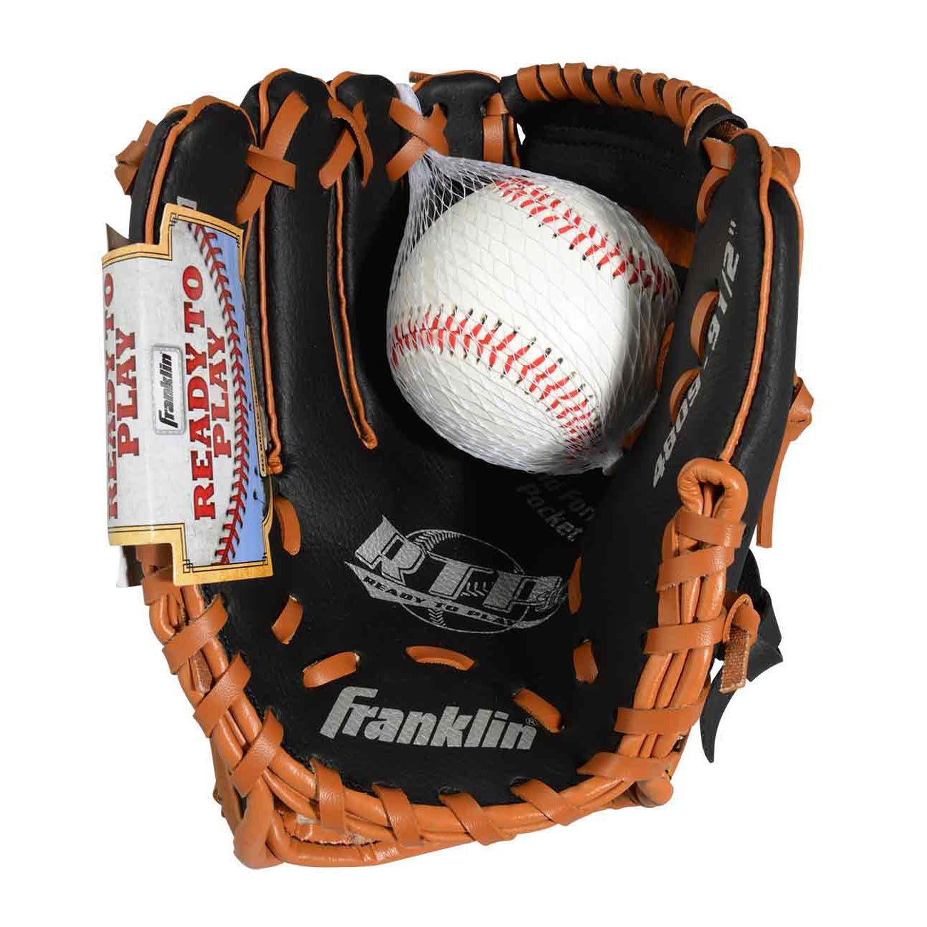 """Franklin Sports Black/ Tan 9.5-inch Glove with Ball (9.5""""..."""
