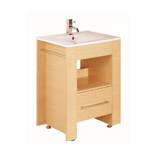Bellaterra Home 23.75-inch Light Maple Single Bathroom Wood Vanity with Mirror