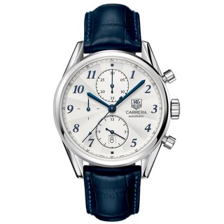 Tag Heuer Men's CAS2111.FC6292 'Carrera' Chronograph Automatic Blue Leather Watch