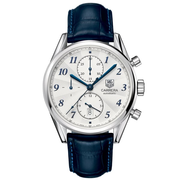 2e9ddcacea0 Shop Tag Heuer Men s CAS2111.FC6292  Carrera  Chronograph Automatic Blue  Leather Watch - Free Shipping Today - Overstock - 7519284