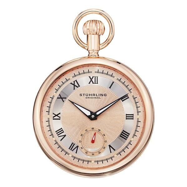 Stuhrling Original Men's Montres de Poche Colmar Rose-Tone Mechanical Pocket Watch