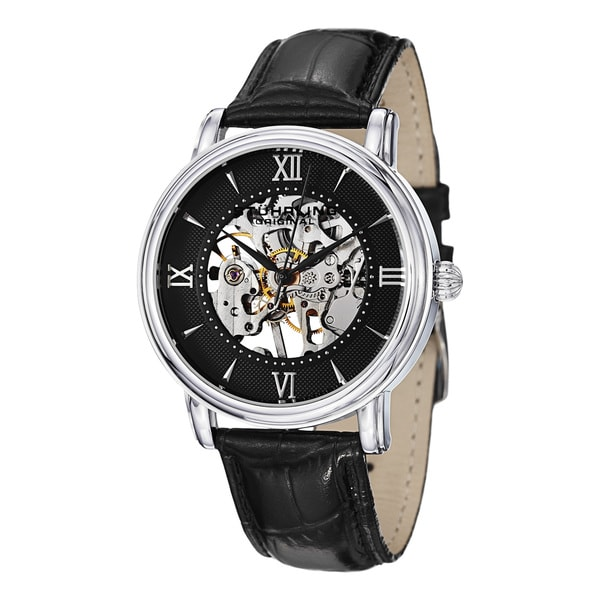 Stuhrling Original Men's Chamberlain Mechanical Watch with Black Leather Strap