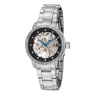 Stuhrling Original Women's Lady Delphi Black-Dial Automatic Crystal Bracelet Watch