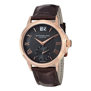 Stuhrling Prestige Men's Noble Swiss-Quartz Leather-Strap Water-Resistant Watch