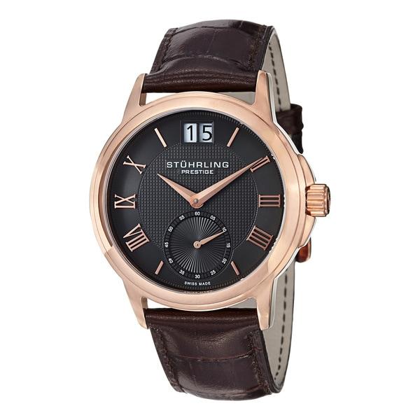 Stuhrling Prestige Men's Noble Swiss-Quartz Leather-Strap Water-Resistant Watch