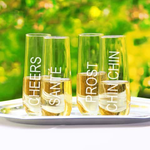 Cheers! Stemless Champagne Glasses (Set of 4)