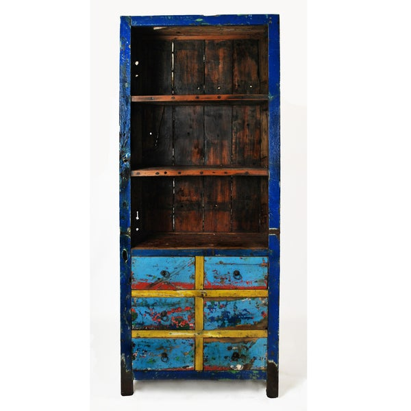 Ecologica Ecofriendly Reclaimed Wood Six-Drawer Bookcase
