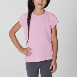 American Apparel Girls Pink Crew Neck Tee