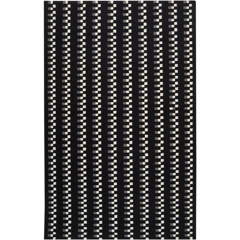 SURYA Hand-woven Tombstone Wool Rug (Black-(5' x 8')), Bl...
