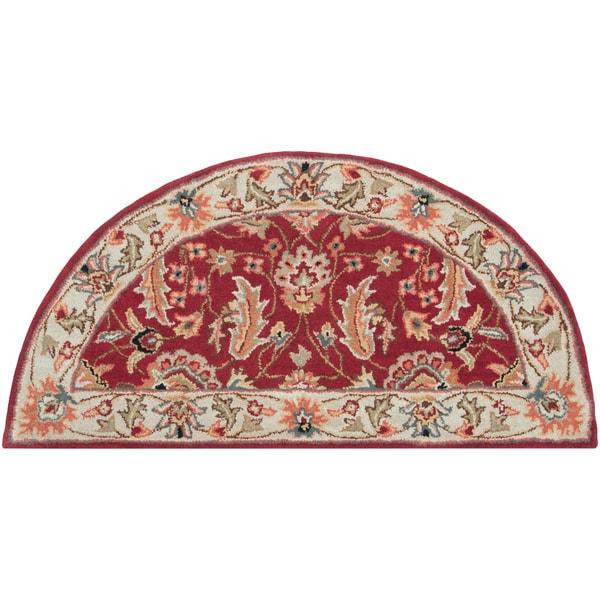 Hand-tufted Schertz Red Wool Rug (2' x 4' Hearth)