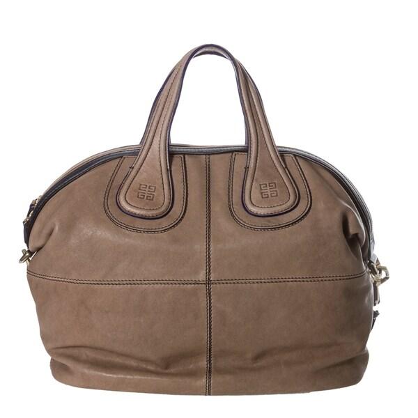 Givenchy 'Nightingale' Medium Taupe/ Navy Leather Satchel