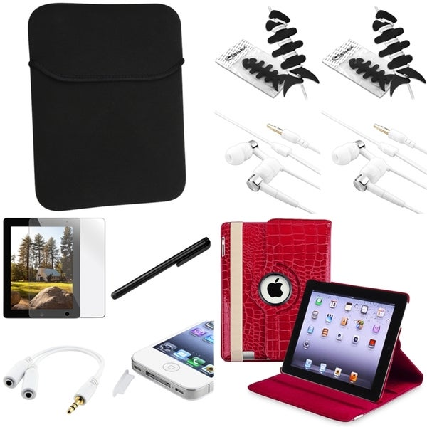 BasAcc Red Case/Headset/Protector/Splitter/Stylus for Apple iPad 2