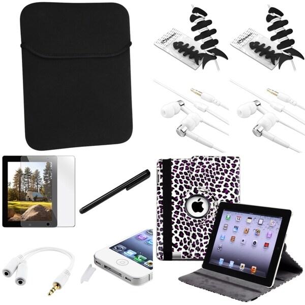 BasAcc Leopard-Print Case/Headset/Protector/Splitter/Stylus for Apple iPad 2