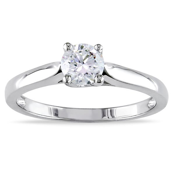 Miadora Signature Collection 14k Gold 1/2ct TDW Certified Diamond Solitaire Ring (G-H, SI1-SI2)