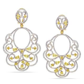Miadora 14k Gold 3ct TDW Diamond and Sapphire Earrings (G-H, SI1-SI2)