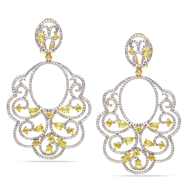 Miadora 14k Gold 3ct TDW Diamond and Sapphire Earrings (G-H, SI1-SI2)