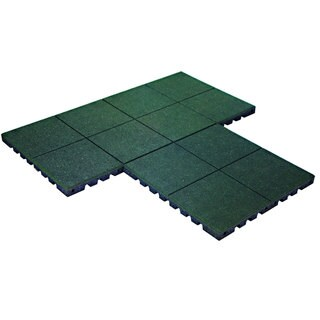 KidWise PlayFall Green 1.75-inch 320-square feet Rubber Tiles Playground Safety Surfacing (Case of 80)
