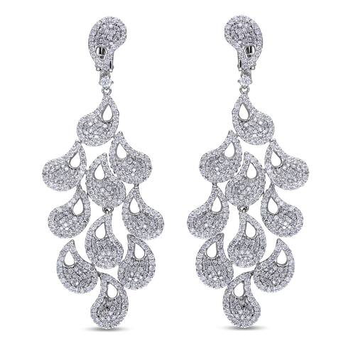 Miadora Signature Collection 14k White Gold 4 1/2ct TDW Diamond Vintage Drop Earrings