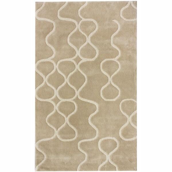 nuLOOM Handmade Swirls Natural New Zealand Wool Rug
