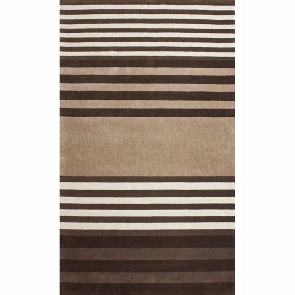 nuLOOM Handmade Stripes Brown Faux Silk / Wool Rug